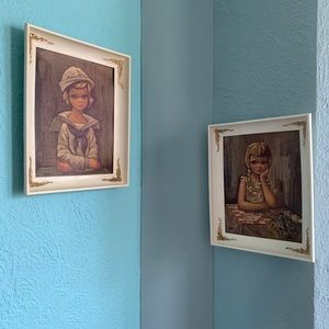 Vintage BIG EYED prints in original frames